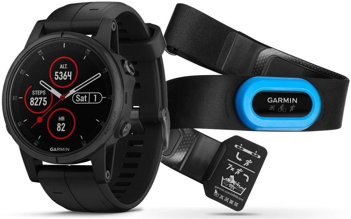 Orologi Garmin Garmin fenix5S Plus Sapphire Black, Black Band, Performer TRI Bundle